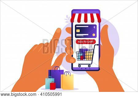 Women Shopping Online On Mobile Phone. Concept Of Online Shopping, Online Store Payment. Bank Credit