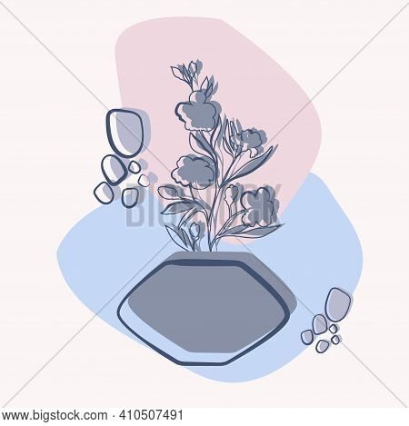 Vase With Tropical Plants And Abstact Colorful Shapes