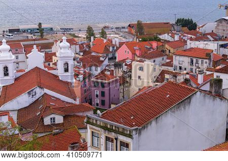 Lisbon, Portugal - November 14, 2014: A View From Miradouro To Alfama District Of Lisbon.