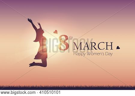 Happy Womens Day 8th March Girl With Raised Arms Jumps At Sunshine Vector Illustration Eps10