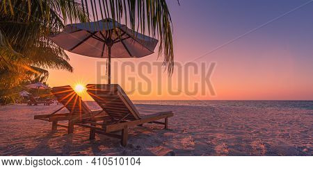 Beautiful Tropical Beach Banner. White Sand And Coco Palms Travel Tourism Wide Panorama Background C