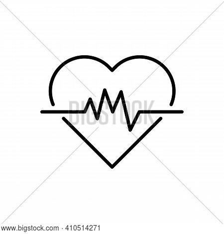 Heartbeat Line Icon. White Heart With Curve Sign. Heart Rate Illustration. Pulse. Electrocardiogram