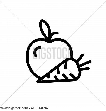 Pictogram Of Apple With Carrot. Organic Fruits And Vegetables, Vegetarian, Wellness, Gym Or Fitness