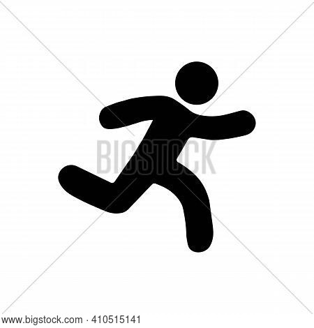 Running Sprinter Man Flat Illustration With Motion Track Lines,abstract Silhouette Symbol, Simple Ru