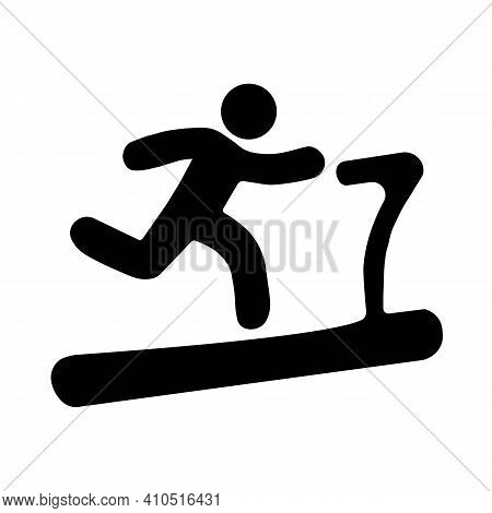 Man Running On Treadmill Line Icon. Illustration Isolated On White Background. Pixel Perfect Graphic