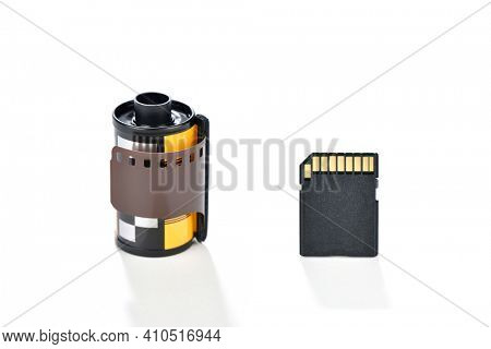 Storage mediums for analog and digital photography isolated on white background