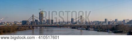 Belgrade, Serbia - February 15, 2021: Panoramic Cityscape View Of Belgrade Capital Of Serbia And Sav