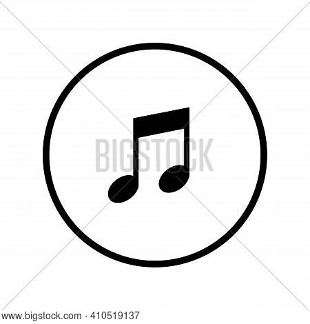 Musical Notation Outline Icon In Black. Illustration Of Music Note Symbol. Classic Melody Sign Flat