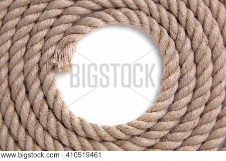 Twisted Ropeon A White Background. Top View.