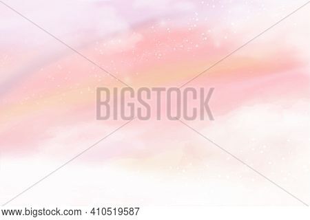 Pink Watercolor Cotton Cloud Background. Pastel Fantasy Sky Backdrop Template For Wedding Invitation