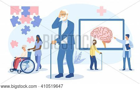 Concept Of Alzheimers Disease In The Elderly With Carers, A Man Suffering From Dementia And A Medica