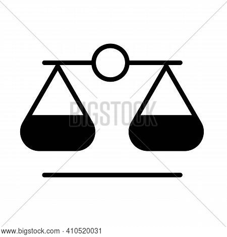 Scales Of Truth Line Icon In Black Concept. Scale Illustration On White Background. Truth Logo. Tren