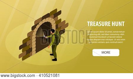 Isometric Treasure Hunt Horizontal Banner With Editable Text And More Button With Human Character Of