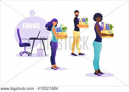 Vector Illustration Of Firing Employee. People Standing With Offices Box With Things. Unemployment C