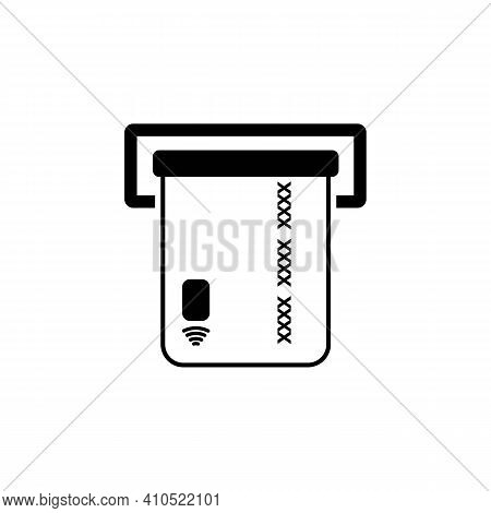 Insert Credit Card In Atm Line Icon In Black. Isolated Illustration White Background. Bank Card Or P