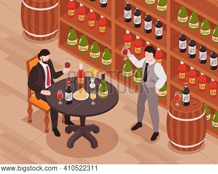 Wine Tasting Cellar Isometric Composition With Customer Taster At Table Owner Sommelier Standing Wit