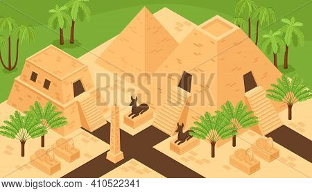 Ancient Egypt Landmarks Historic Monuments Isometric Background Composition With Kings Valley Pyrami