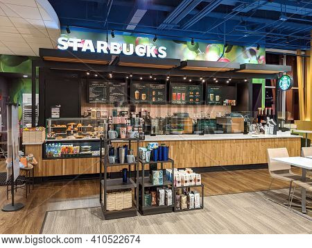 Honolulu - February 8, 2019:  Starbucks Store Inside Kapiolani Hospital.  Starbucks Corporation Is A