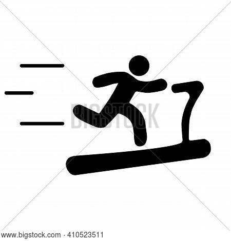 Treadmill Linear Icon In Black. Thin Line Illustration. Exercise Machine. Contour Symbol. Isolated O