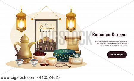 Ramadan Kareem Horizontal Banner With Glowing Lanterns And Traditional Iftar Food Vector Illustratio