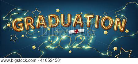 Congratulation Graduates 2021class Of Graduations. Vector Illustration Of The Word Graduation Class