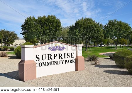 SURPRISE, ARIZONA - NOVEMBER 24, 2016: Surprise Community Park Sign. The park features A Regional Library, Aquatic Center, Dog Park, Pickleball Courts, a pond and much more.
