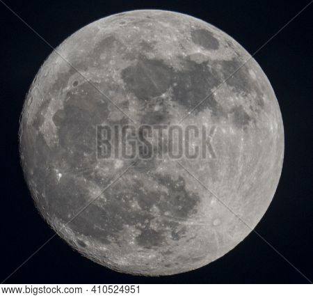 Just The Moon. Closeup Shot Of A Full Moon In The Classic Grey Format With Pure Black Background. Ex