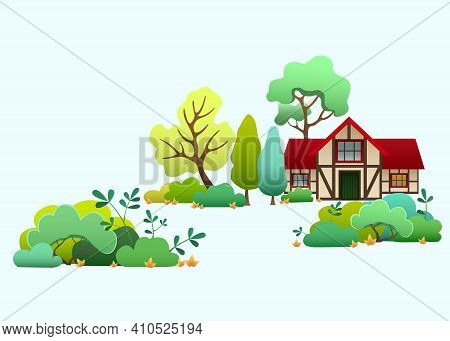 Country House Among Trees And Bushes In Countryside. Cartoon Cottage House With Red Roof. Rural Land