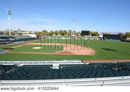 SCOTTSDALE, ARIZONA - DECEMBER 9, 2016: Scottsdale Stadium looking from The Right Field stands. The stadium is the Spring Training home of the San Francisco Giants.