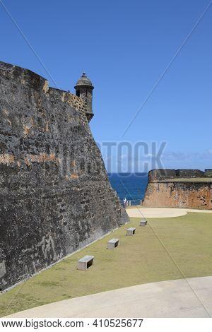 SAN JUAN, , PUERTO RICO - 19 MAR 2012: The Castillo San Cristobal Fortress.