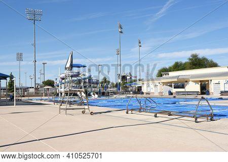 SURPRISE, ARIZONA - NOVEMBER 24, 2016: Surprise Aquatic Center. The public facility is part of the Surprise Community Park on Bullard Avenue. The center features a competition pool, slides, diving wel