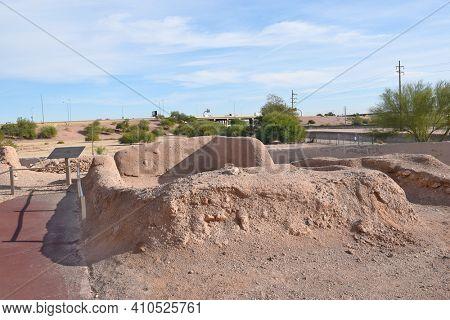 PHOENIX, ARIZONA - DECEMBER 9, 2016: Pueblo Grande ruins. The historic site is in the middle of the greater Phoenix area.