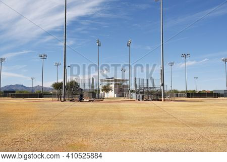 SURPRISE, ARIZONA - NOVEMBER 24, 2016: Surprise Stadium Practice Fields. The facility is the Spring Training home of both the Texas Rangers and Kansas City Royals of MLB's American League.