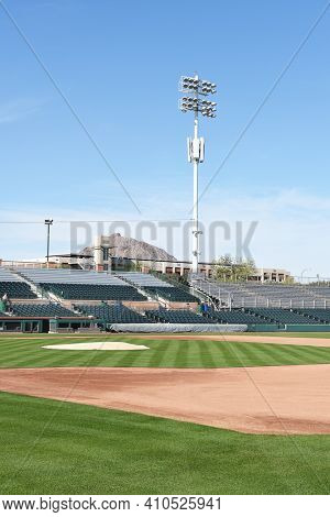 SCOTTSDALE, ARIZONA - DECEMBER 9, 2016: Scottsdale Stadium looking from The Right Field stands across the infield. The stadium is the Spring Training home of the San Francisco Giants.