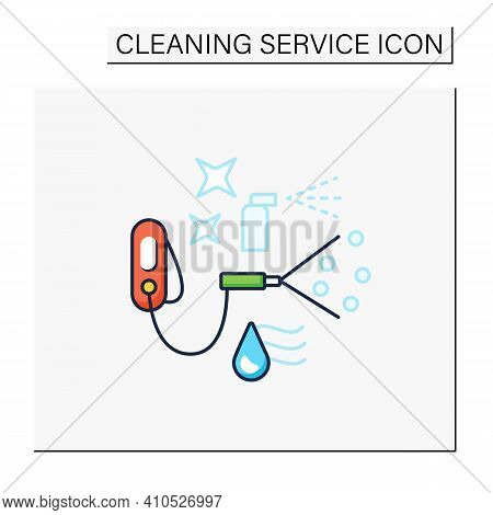 Sanitization Services Color Icon. Sterilization Houses Process. Room Disinfection, Handheld Devices