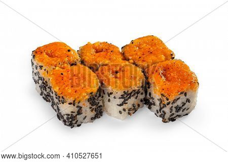 Baked spicy eel roll on white background
