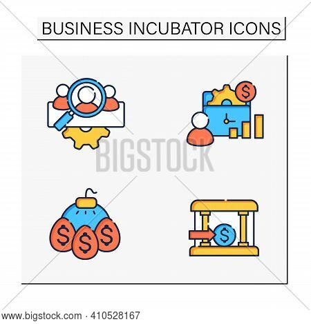 Business Incubator Color Icons Set. Startup Company. Marketing Assistance, Tax Declaration. Startup