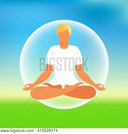 Man Meditating On Nature Background. Meditation Concept. Man Sitting In Lotus Position Practicing Me