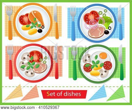 Color Image Of Portion Lunch Or Dinner On White Background. Food And Meals. Dishes And Crockery. Vec