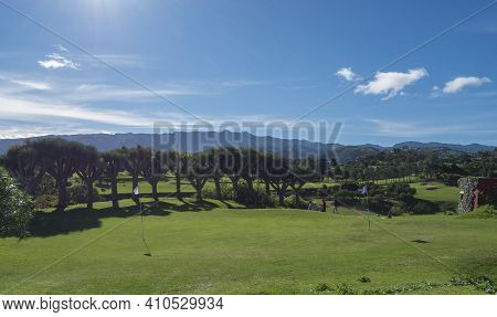 Las Palmas, Gran Canaria, Canary Islands, Spain December 16, 2020: View Over Green Golf Course Of Re