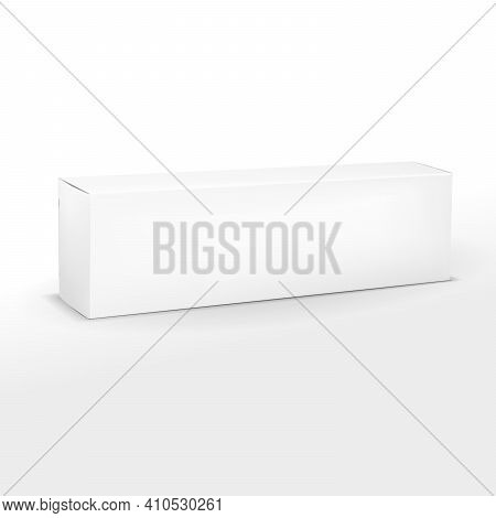 Realistic Long White Paper Or Cardboard Box Mockup For Toothpaste, Cosmetics, Cream. Packaging Colle