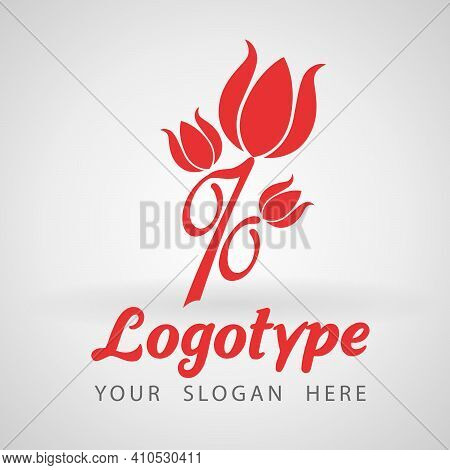 Red Percent Flower Logo Icon Design Template. Discount Percent Concept. Vector Illustration. Special