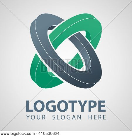 3d Geometry Abstract Gray And Green Rings Company Vector Logo Icon. Cilinder Logo Template Design. I