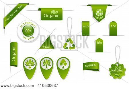 Set Of Green Tags And Labels. Eco And Bio Badges With Leaves And Trees. Farm, Organic And Natural Sy