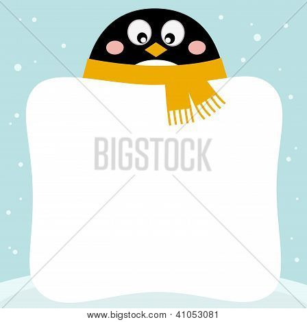 Cute Penguin With Winter Blank Banner