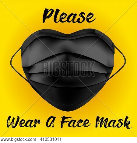 Please Wear A Mask Thank You Warning Sign With A Face Mask Shape And Heart Symbol. Vector Image.