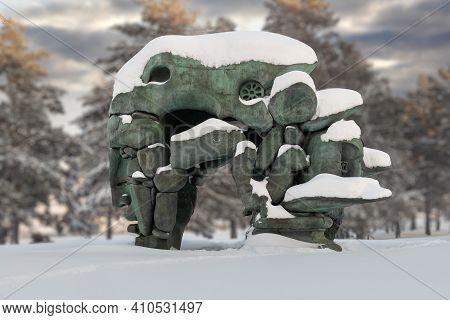 Krasnoyarsk, Russia - February 2, 2021: Sculpture Of A Transformation By The Buryat Sculptor Dashi N