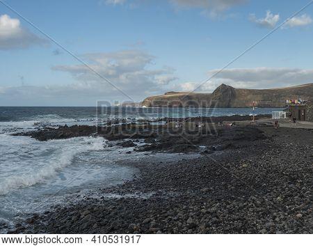 Puerto De Las Nieves, Agaete, Gran Canaria, Canary Islands, Spain December 17, 2020: Natural Sea Poo