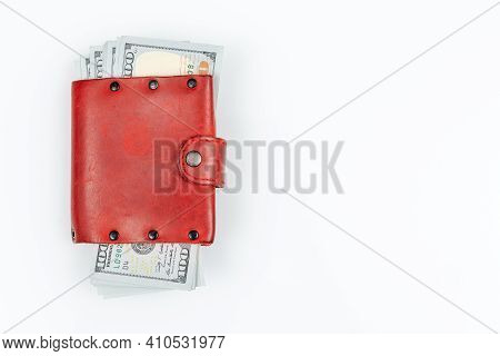 Red Leather Hand Made Wallet With Dollars. Isolated On White Background With Copy Space. Wallet Full