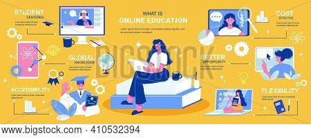 Online Education Infographics With Editable Text Captions Pictogram Icons And Images Of Tutors Compu
